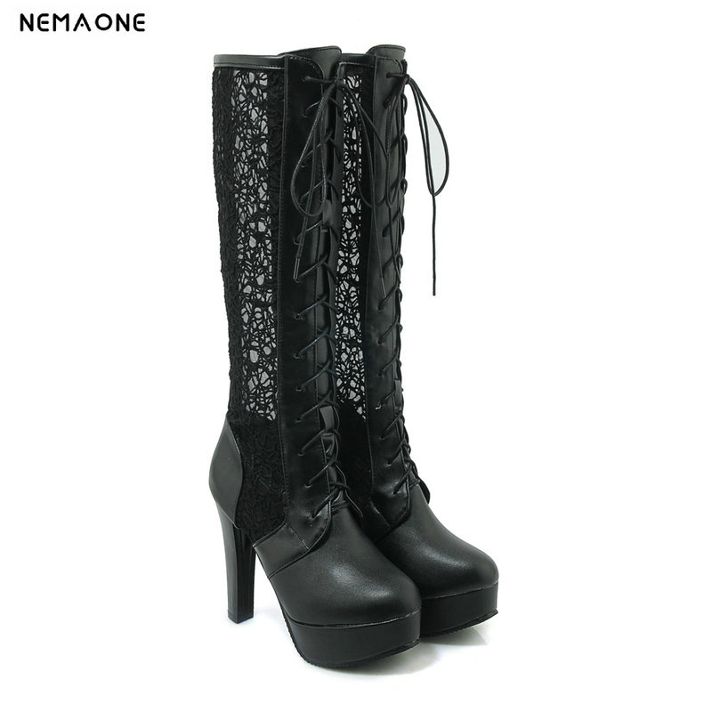 NEMAONE Sexy women knee high boots high heels platform round toe ladies boots black white beige shoes woman big size 43 enmayer high heels charms shoes woman classic black shoes round toe platform zippers knee high boots for women motorcycle boots