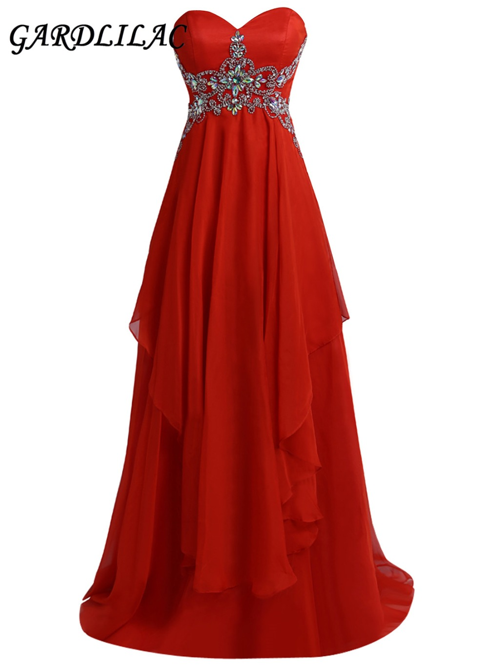 New Strapless Red Long   Bridesmaid     Dresses   2019 Plus Size Wedding Party Gown Chiffon Beads Maid of Honor Prom Gown