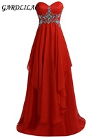 New Strapless Red Long Bridesmaid Dresses 2018 Plus Size Wedding Party Gown Chiffon Beads Maid of Honor Prom Gown