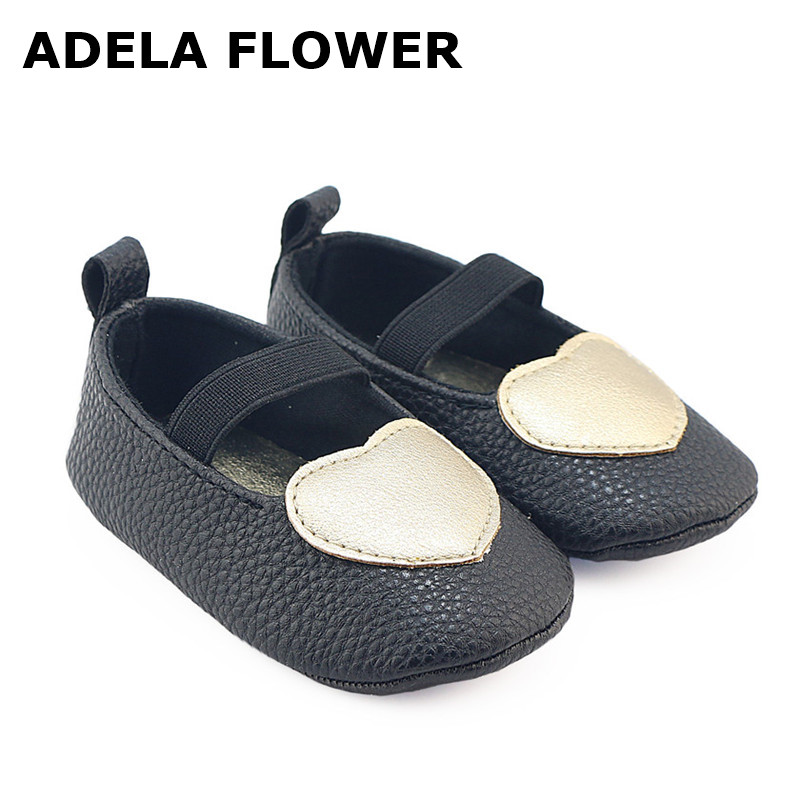 Adela Flower Baby Shoes girls PU leather baby Moccasins black with gold Heart-shaped toddler infant Girl First Walker shoes