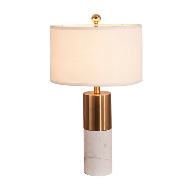 Modern Table Lamp Copper Marble Base White Silver Toolery Art Home Decoration Lighting Luxury Nordic
