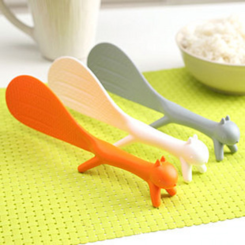 Creative Lovely Kitchen Supplie Squirrel Shaped Ladle Non Stick Rice Paddle Spoon Plastic Spoon Kitchen Accessories 876844