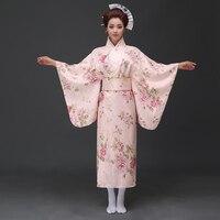 Żółty Vintage Japońskich Kobiet Satin Kimono Yukata Suknia Wydajność Kostium Klasyczne Azji Mujer H0055-B Quimono One Size