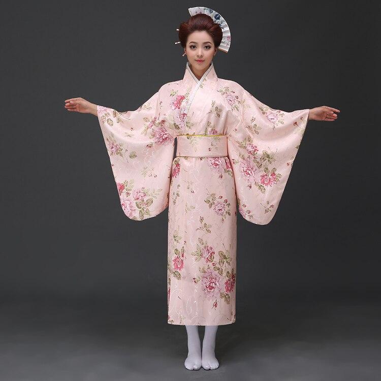 Kimono en Satin jaune Vintage japonais pour femmes robe de soirée Yukata Costume de Performance classique asie Mujer Quimono taille unique H0055-B