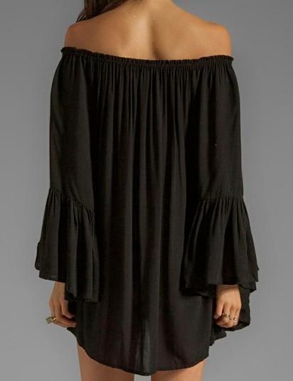 8719681e3d3 Hot Women's Off-Shoulder long Sleeve Loose Casual Party Mini Sexy Dress Top  Plus Size Dress Fat Women Clothing Slim White Black