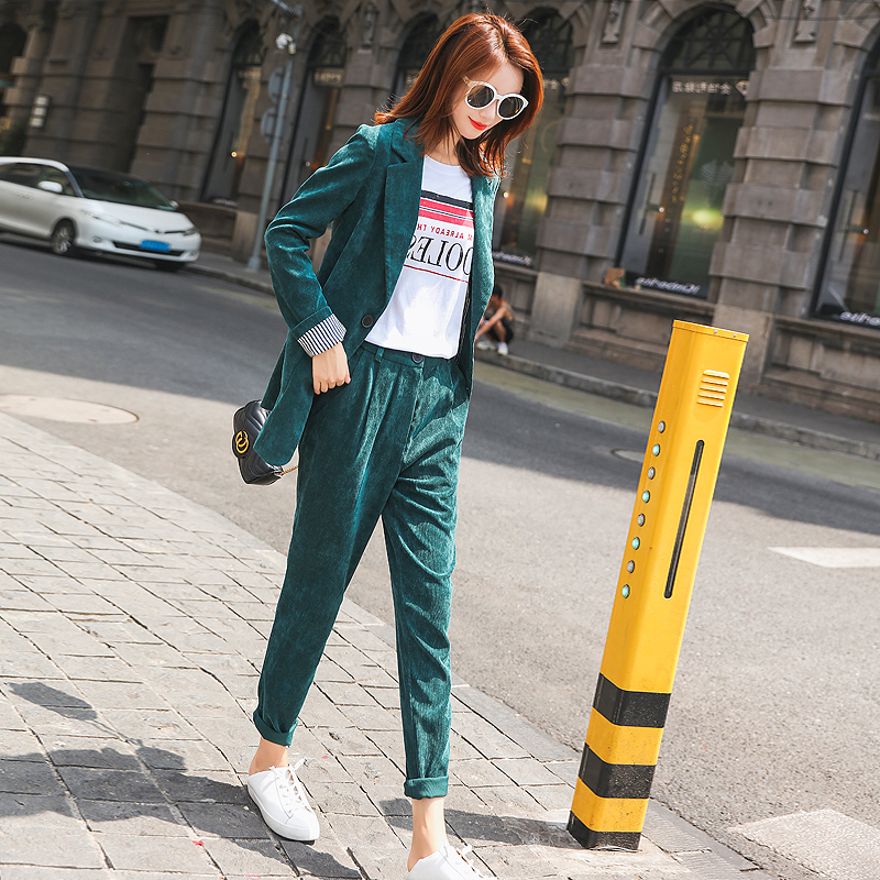 BGTEEVER Casual Solid Corduroy Women Pant Suits Single Breasted Blazer Jacket Pencil Pant Vintage Green Warm