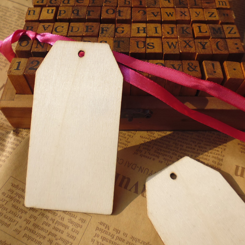 Wholesale 50pcs 4 5x8 5cm Wooden Gift Tag Wood Hang Tag Diy