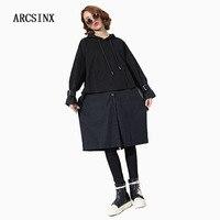 ARCSINX Vestido das Mulheres Plus Size 5XL 4XL XXXL Com Capuz Preto de Grandes Dimensões Mulheres Se Vestem Camisa de Vestido Ocasional Outono de Manga Comprida vestidos