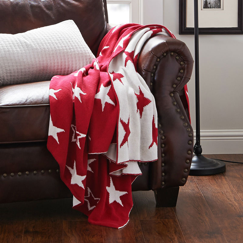 ФОТО 120*180cm white star 100% knit cotton baby red soft blanket summer&spring&autumn on sofa/duvet bed set Towelling coverlet