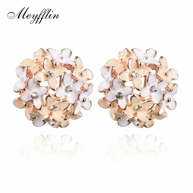 Stud Earrings for Women Female 2017 Boucle d'oreille Crystal Flower Clover Earring Gold Bijoux Jewelry Brincos Mujer 1