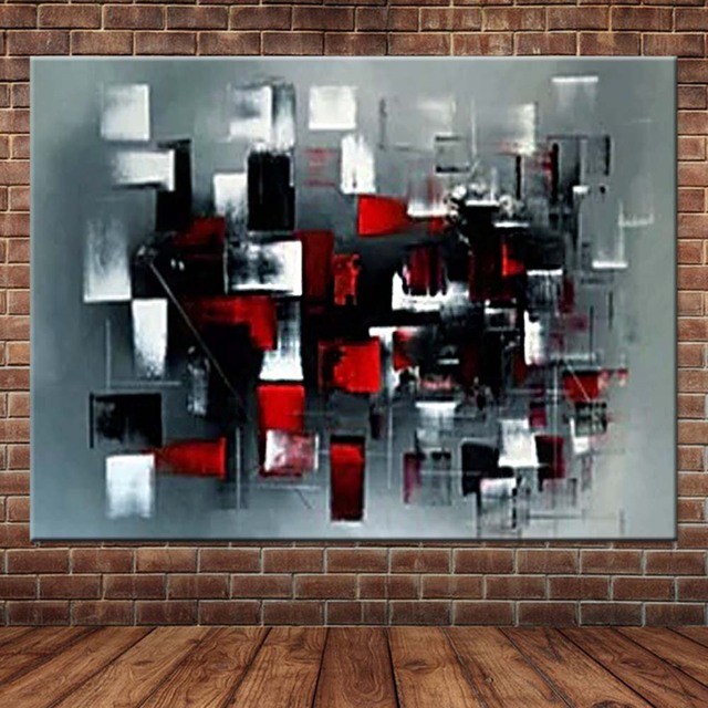 Outstanding Us 38 02 42 Off Hand Painted Abstract Palette Knife Grey Red Color Canvas Oil Painting Abstract Wall Picture Living Room Bedroom Home Wall Decor In Home Interior And Landscaping Staixmapetitesourisinfo