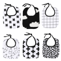 Baby Bibs Batman Clouds Cross Grid Towel Cotton Children Infant Saliva Towels Girls Boys bebe Bandana Bibs Black with White
