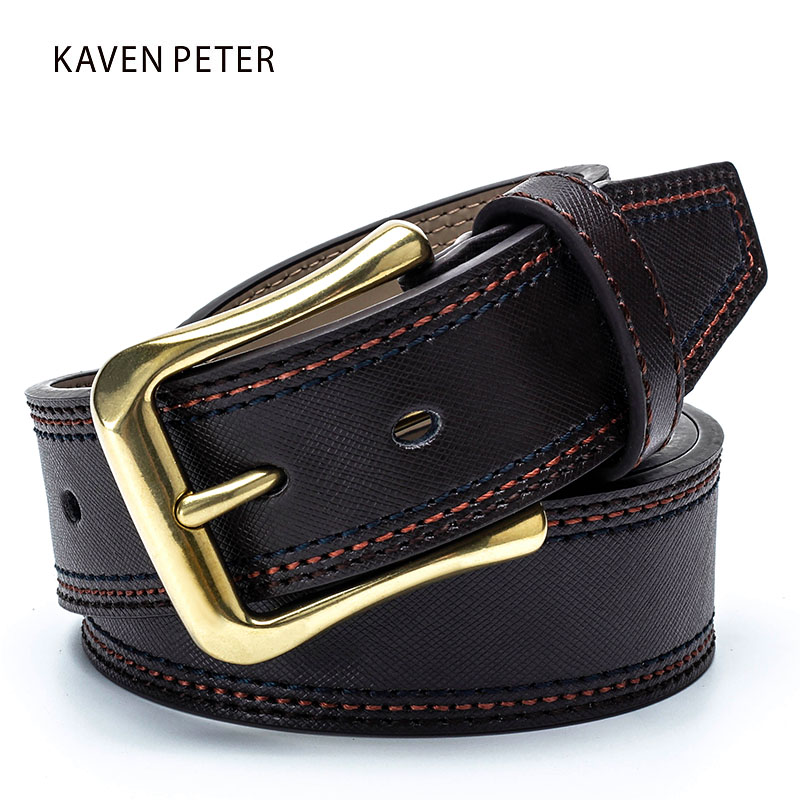 Fashion Plaid Cowskin   Belt   For Men Antique Brass Buckle Classic Genuine Leather   Belt   For Jeans Male Strap With Three Stitching