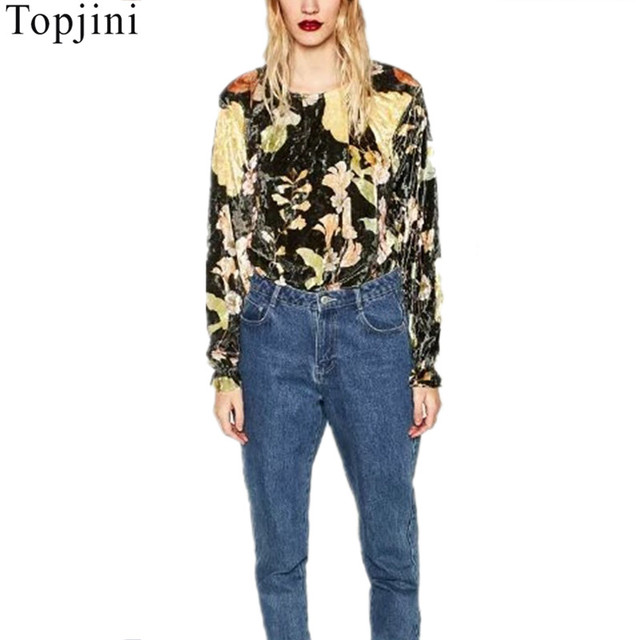 New Fashion Women Spring Autumn Digital Print Flowers Sexy Casual Long Sleeve Bodysuit Playsuit Jumpsuit Ladies Velour Body