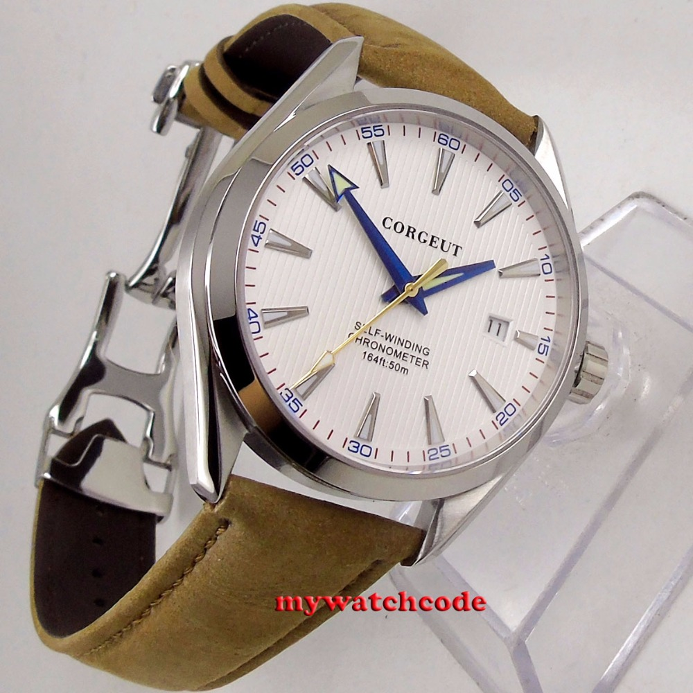 Polished 41mm corgeut white dial Sapphire Glass miyota 8215 automatic mens Watch C133