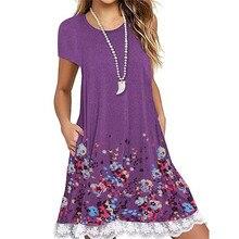 Floral Print Lace Patchwork Dress Women Summer 2019 Large Plus Big Size 5XL Casual T Shirt Dress Loose A-Line Beach Dresses