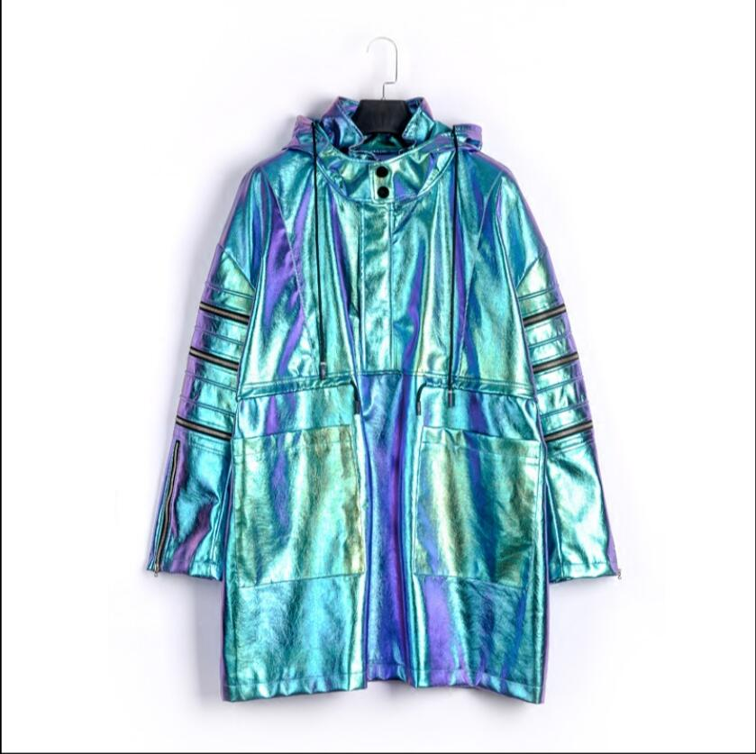 Autumn and winter new singer jacket coat tide patent leather bright trench coats men and women hooded windbreaker stage costumes