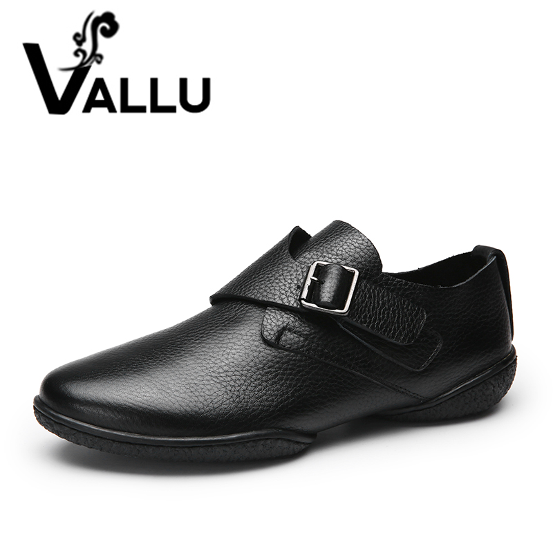 2018 VALLU Women Shoes Flats Genuine Leather Moccasins Buckle Causal Mother Loafers Female Footwear Size 35-41 women s platform flats loafers genuine leather slip on brogues shoes for women female footwear brand designer moccasins calzados