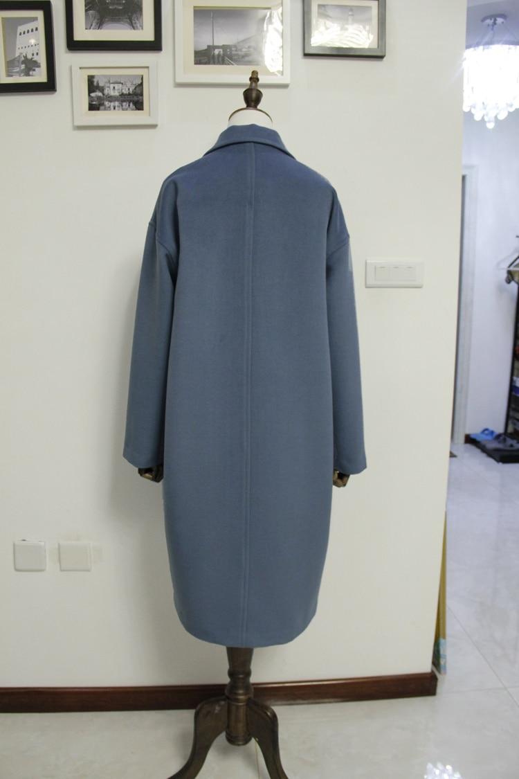 Femelle Casaco Bleu quilted Lining Long Manteau Cassic Automne Femme Femmes Maxi De Nouveau Simple Laine Lining Warm Mode Hiver Regular Feminino Survêtement Gris ZWRWgd