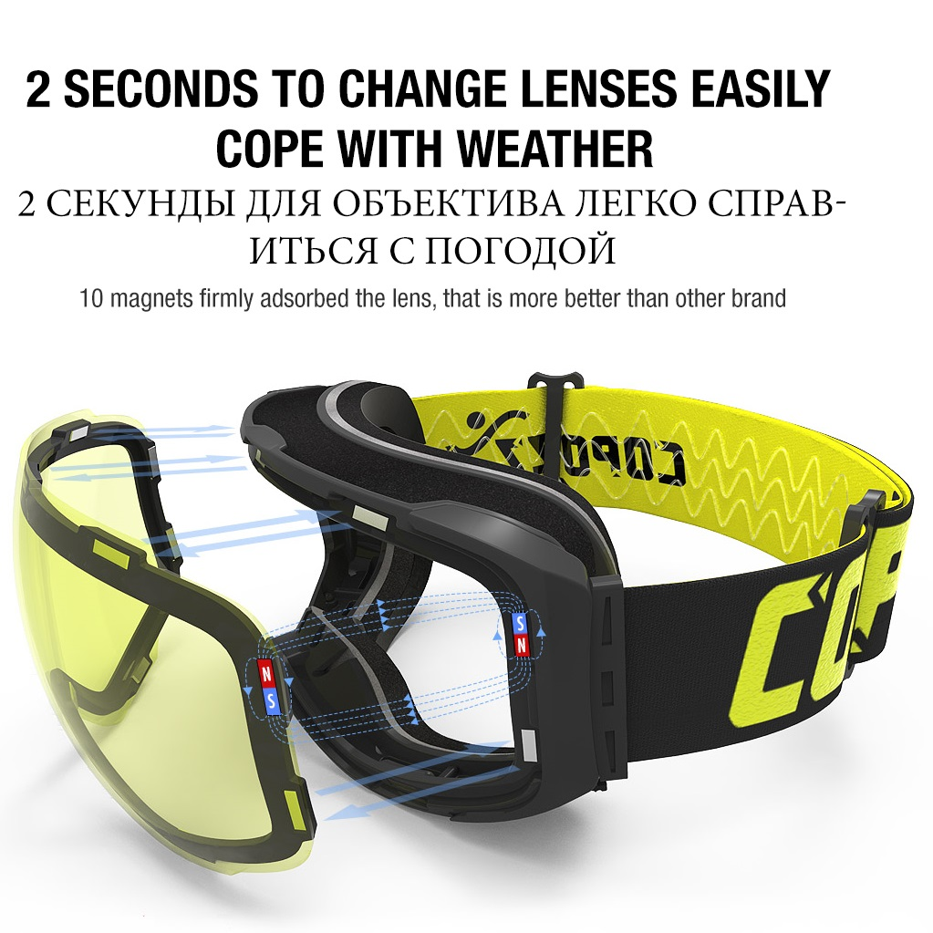 7872cb250a3 COPOZZ Frameless Magnetic Ski Goggles with Night Skiing Yellow Lens Anti  fog UV400 Protection Snowboard Goggles for Men   Women-in Skiing Eyewear  from ...