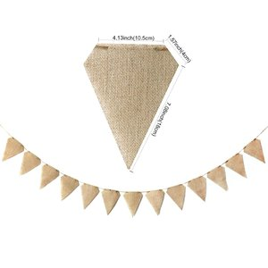Image 5 - 13pcs/set Jute Fabric Bunting Banner Vintage Letter Flags Wedding Birthday Party Burlap Banners Rustic Wedding Decoration