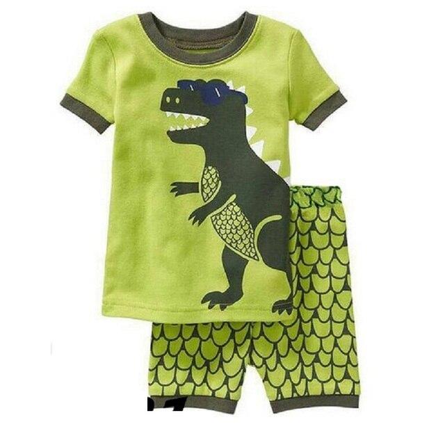 Grey Boy Pajamas Clothes Suit Summer Short Racing Motorcycle Children Pj's Tee Shirt Pant 2-Pieces Sleepwear Boys Tops 2-7 Years 2