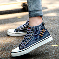 2017 Spring New Men Casual Shoes Footwear Canvas Shoes Denim Men's Flats Breathable Shoes High-top Unisex Loves Shoes