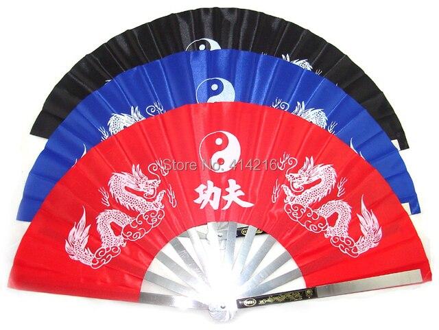 Фитнес нержавеющая сталь Тай чи вентилятор боевых artsshirts кунг-фу Taichi тайцзи производительность Двух Драконов вентиляторы 3 цвета