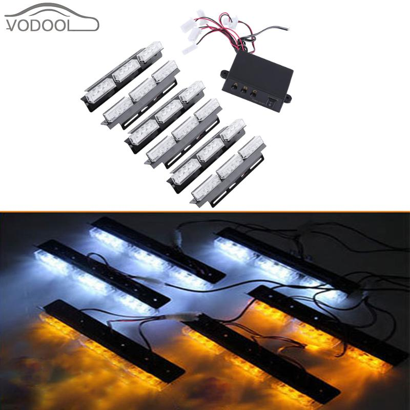 6Pcs 54 LED Auto Car Strobe Lights Automobiles Light-emitting Diode Front Grille Emergency Flashing Lamp Bulbs with Controller high bright s7 car headlights h7 led auto front bulb automobiles headlamp car lamps white light 6000k light bulbs