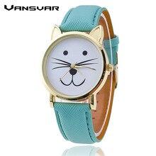 Vansvar High Model Luxurious Leather-based Strap Cute Cat Watch Vogue Informal Girls Quartz Watch Girls Clock Relogio Feminino Present 1149
