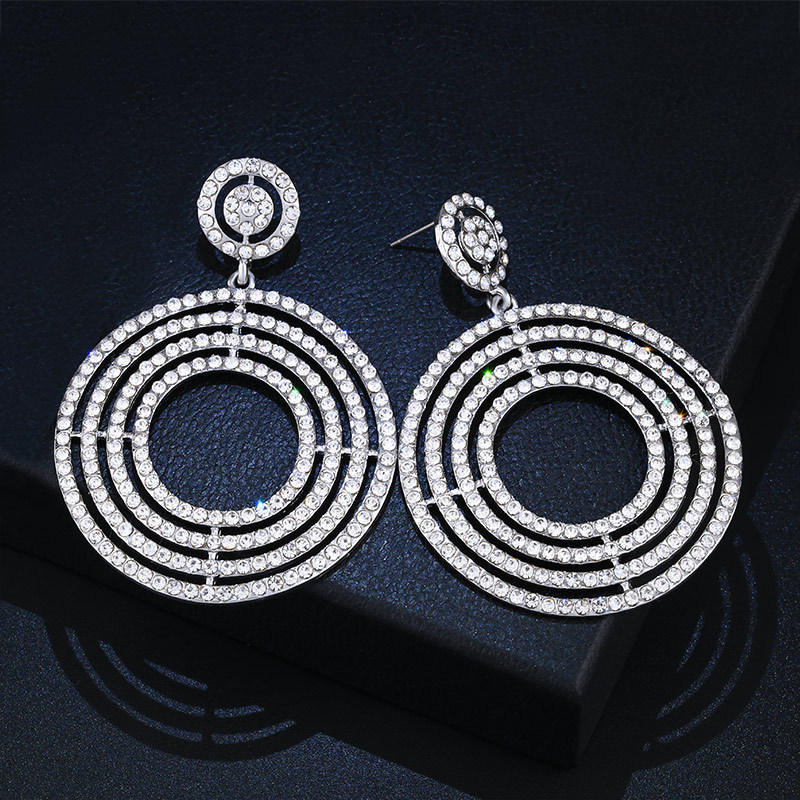 Youfir Jewelry Europe Fashion Earrings Round Rhinestone Silver Dangle Women Party Show Prom Delicate
