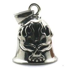 Boy 316L Stainlesss Steel Cool Polishing Flaming Skull Biker Bell Pendant