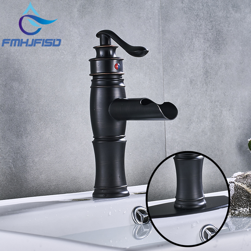 Hot Sell Bathroom Basin Sink Faucet Single Handle Deck Mounted Faucet ORB Finish Hot and Cold Water Mixer Tap with Plate newest washbasin design single hole one handle bathroom basin faucet mixer tap hot and cold water orb chrome brusehd