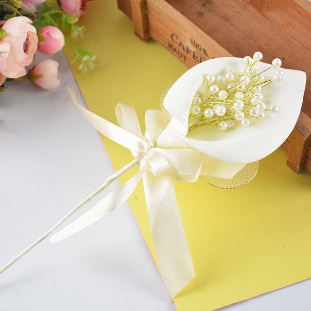 Big foam ivory calla lily flowers with pearl picks stamens Jordan ...