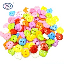 HL 100/200pcs 11mm Mixed Color 2 Holes Flatback Apple Plastic Buttons DIY Scrapbooking Kids Apparel Sewing Notions