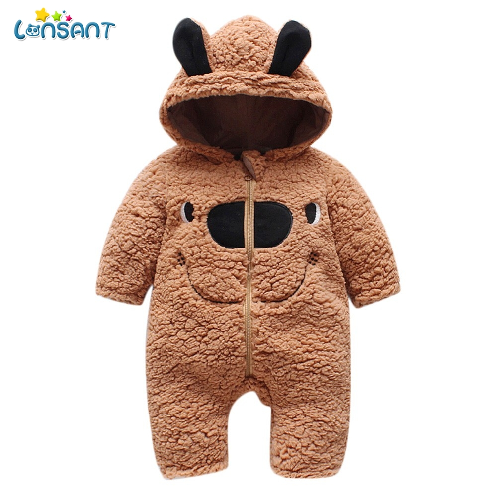 LONSANT Baby   Rompers   Hooded Long Sleeve Baby Boy Clothes Dos Desenhos Animados Menina Infantil Children'S Winter   Rompers   N30