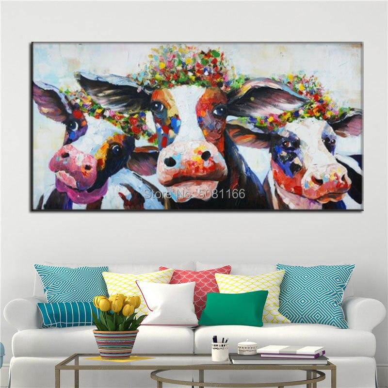 Peint à la main mur Art toile peinture Animal photo affiche vache peinture décor maison mur photo pour salon