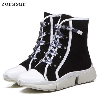 {Zorssar} 2018 Cross-tied Casual Sneakers Womens short Boots Suede Leather Flat Platform ankle boots women spring Autumn shoes