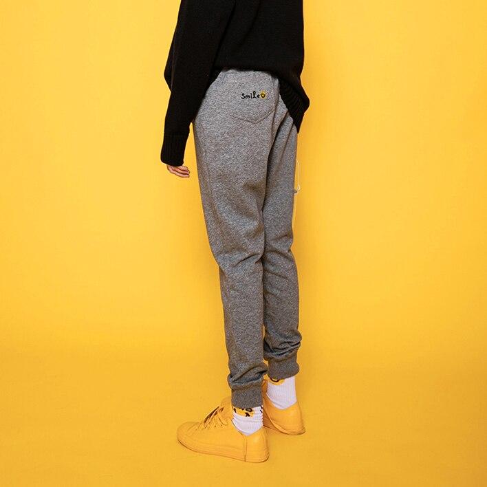 Broderie Pantalon Chinoiserie Conception Coton Printemps Femmes Noir Taille Élastique Qualité Lynette's Sourire Haute Originale gris Automne zdgqPx