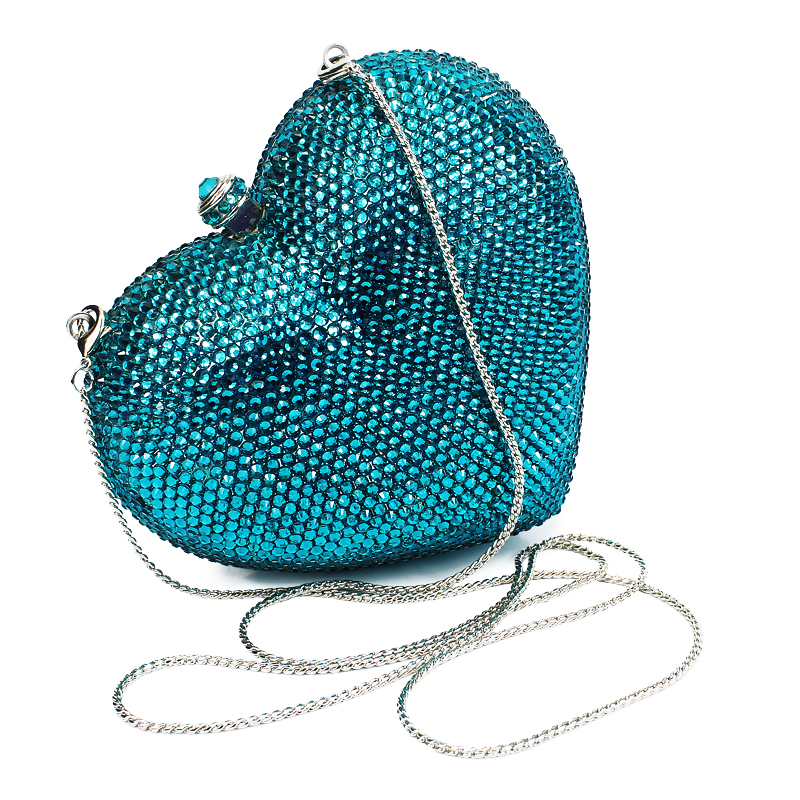 Blue Diamond Heart Shape Evening Clutch Bags 2017 Fashion Vintage Bridal Bridesmaid Wedding Party Chain Hand Bag(B1014-SI) aidocrystal heart shape factory direct sell fashion woman diamond clutch for lady