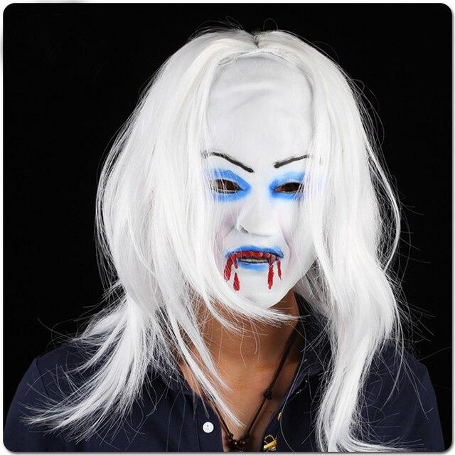 Halloween Latex Horror Mask Bride With White Hair Vampire Horror Face Mask  for Women 882692dd9d