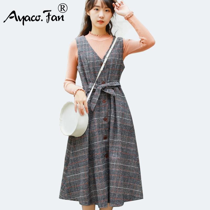 Mori Girl Winter Dress New Fashion Cute Women Sleeveless Vest V Neck Plaid Woolen Vintage Dresses Lady Slim Waist Long Sundress