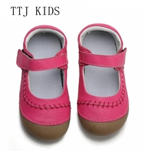 TTJ girls shoes genuine leather black mary jane with children mark line good quality stock little kids beautiful