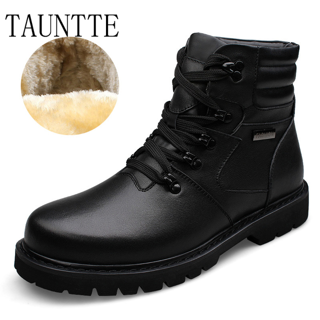 Tauntte Winter Plus Size Cow Leather Ankle Boots Men Military Boots Fashion Genuine Leather Martin Boots With Fur