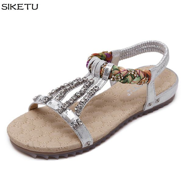 Gladiator new fashion flats sandals shoes JF043 gold silver black crystal rhinestones lady female beach sandals flats shoe