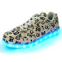7 Colors Luminous Led Light Shoes Men Women Fashion Breathable Musical Note USB Rechargeable Led Shoes Big Size 35-46