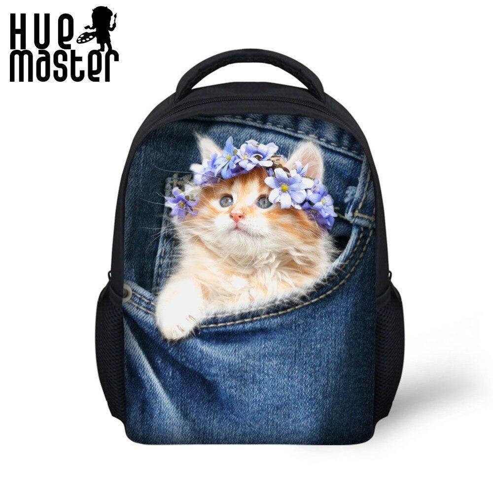 HUE MASTER 3D printing cat backpack 12 inch child backpack breathable shoulder strap design boys and girls school bags backpacks