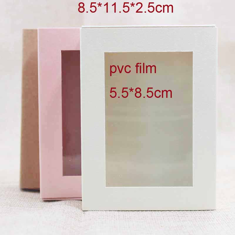 Pink/beige/kraft paper gift slide box with clear pvc window candy favors package & display slide box custom cost extra ...