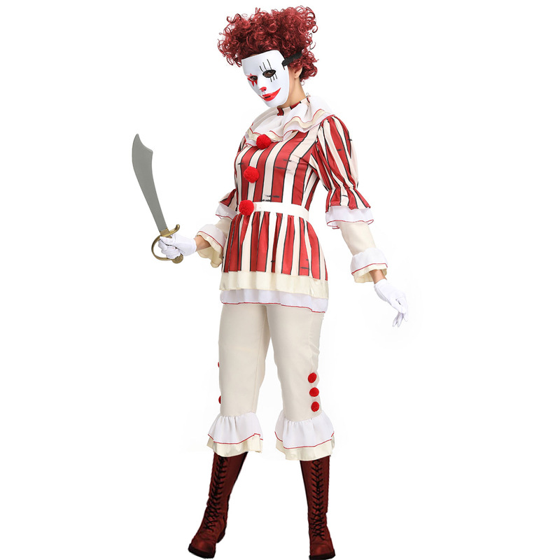 New Arrival Clown Costume Cosplay For Women Adult Halloween Carnival Performance Party Dress Up Suit