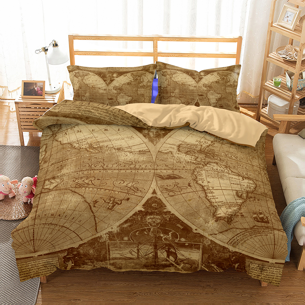 US $39.75 48% OFF 3D World Map Bedding Duvet Cover Sets,Vintage Map for  Kids Vivid Printed Children Bedding Set with Pillowcases,100% Microfiber-in  ...
